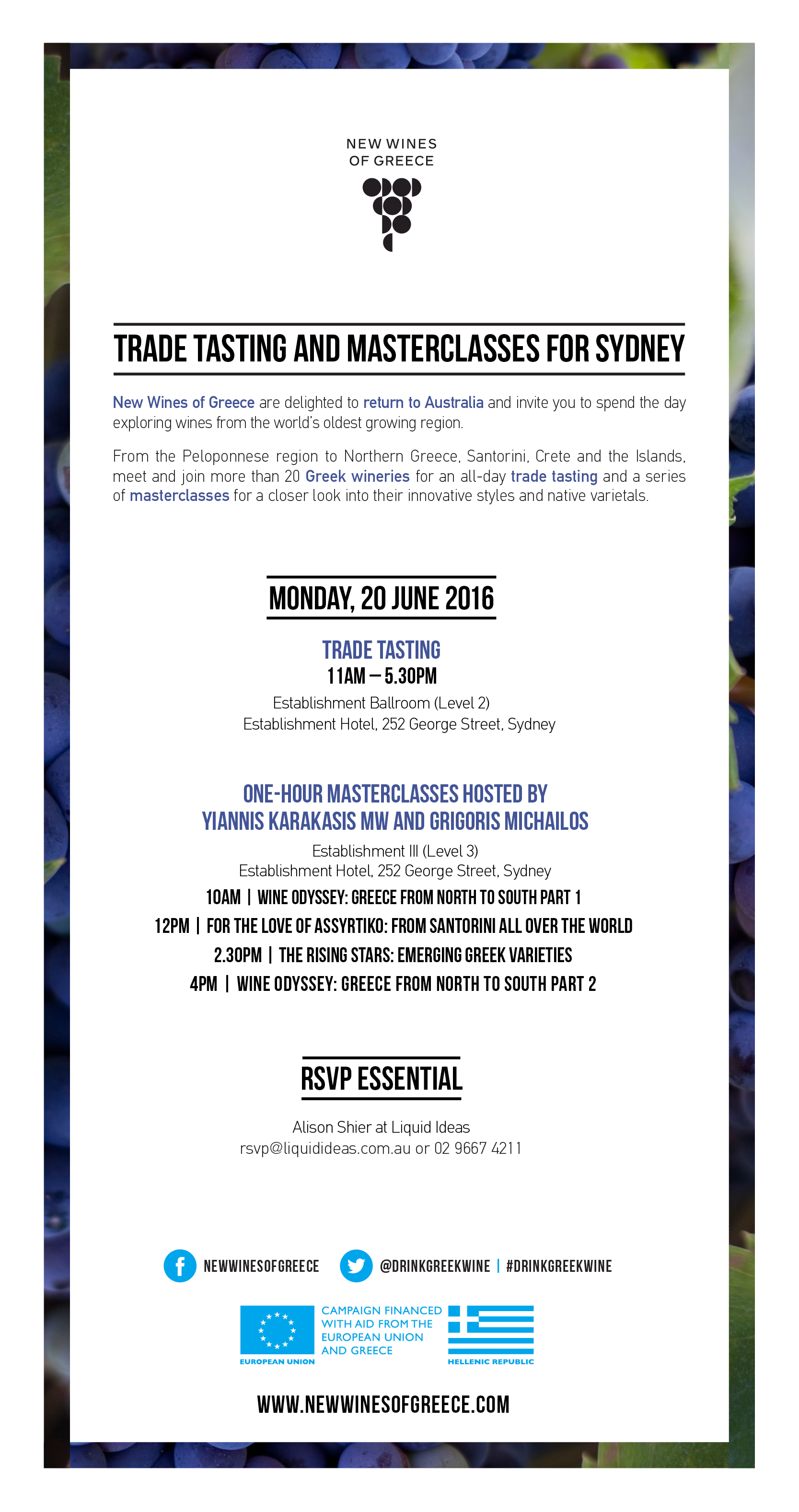 Trade tasting and masterclasses for Sydney