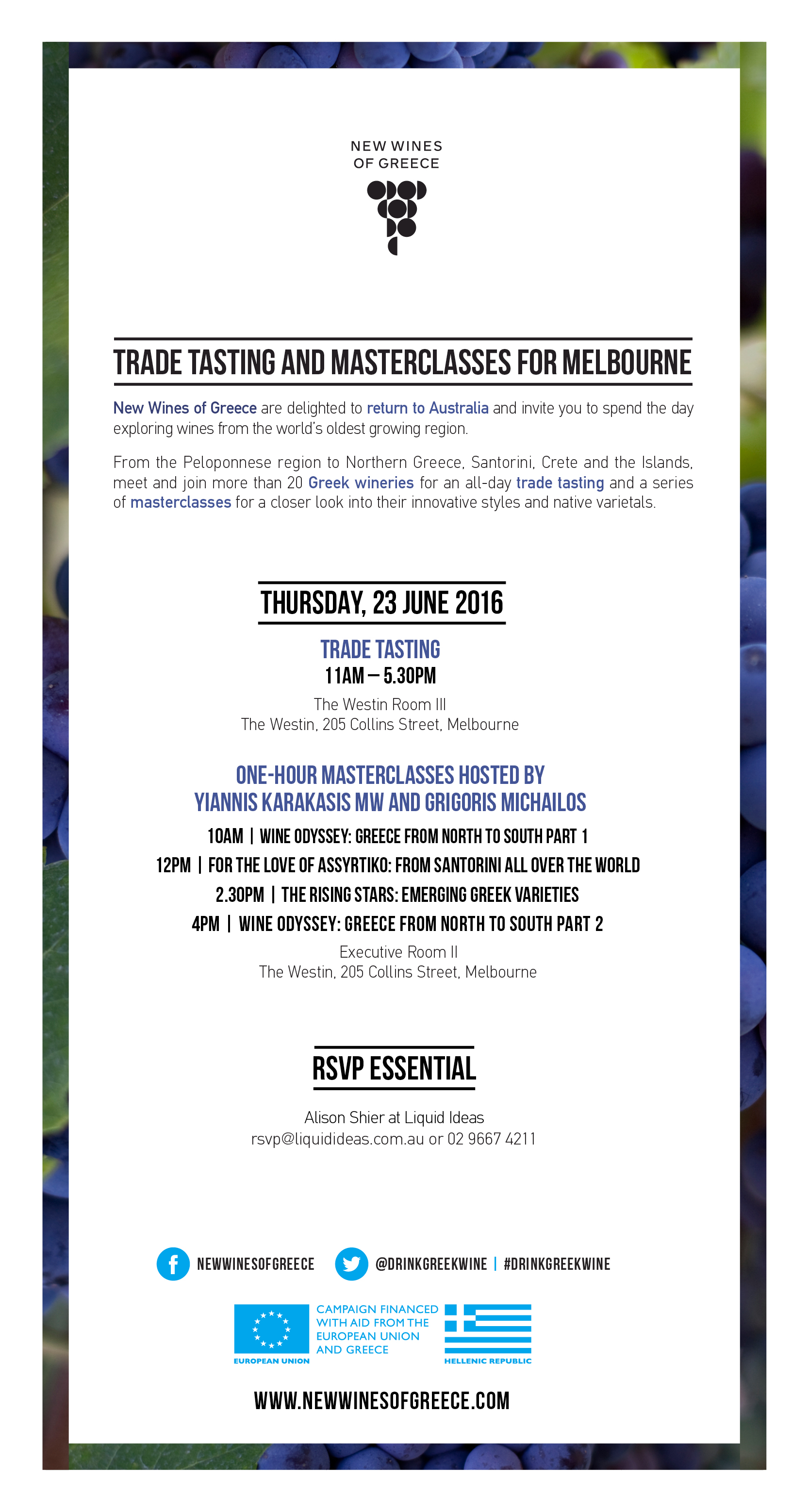 Trade tasting and masterclasses for Melbourne