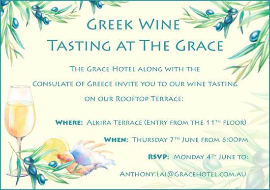 Wines of Greece returns to Australia in June 2018 - Greek wine tasting at The Grace