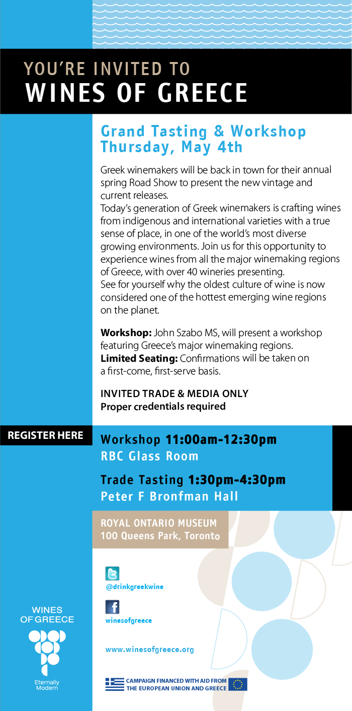 Toronto, Grand tasting and Workshop Thursday, May 4th
